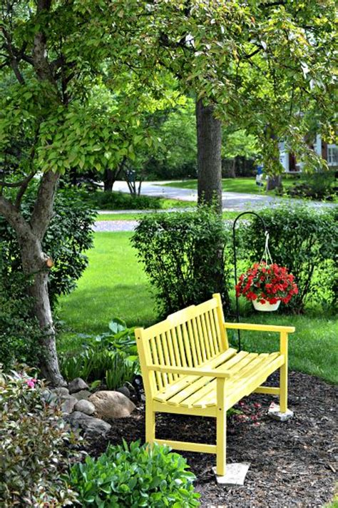 front yard bench a sunny yellow bench for the front yard black bench simple furniture and backyards
