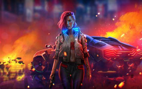 cyberpunk   wallpaper badass neon fire