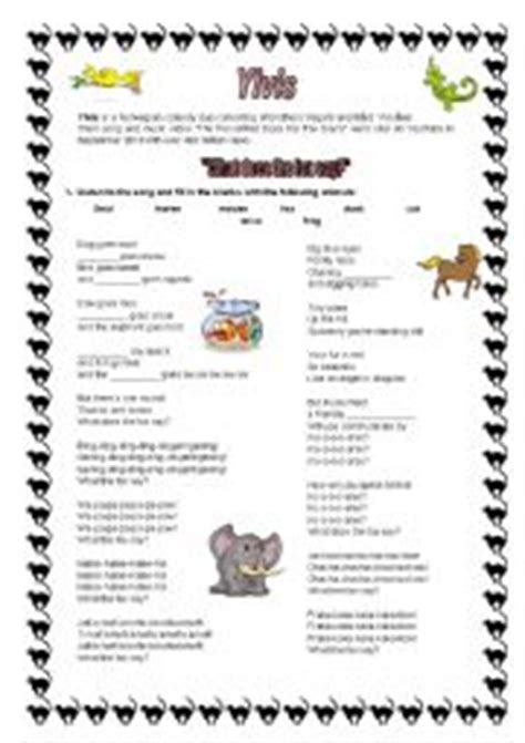 printable lyrics what does the fox say english worksheets song what does the fox say animals