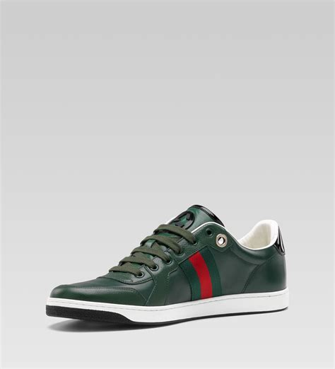 gucci sneaker gucci lace up sneaker green leather sneaker cabinet