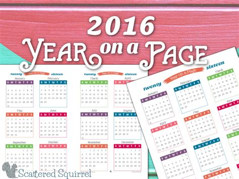 Year On A Page Calendar 2016 Year On Page Printable Calendars Are Here