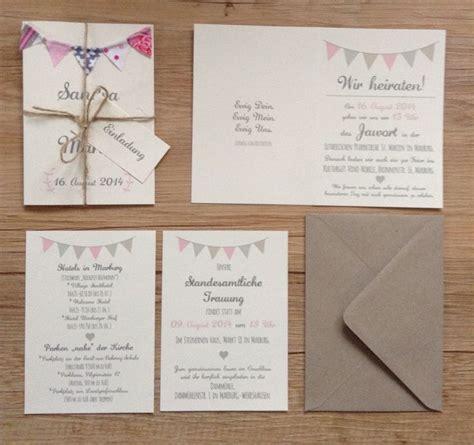 Hochzeitseinladung Wimpelkette by Rustic Wedding Invitation Set With Bunting Einladung Zur