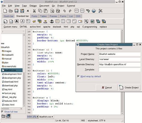 bluefish editor design view bluefish um poderoso editor para web designers artigo