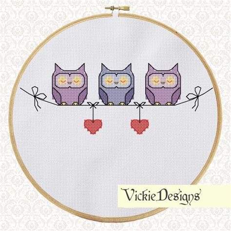 cross stitch pattern clothes line line of owls cross stitch pattern