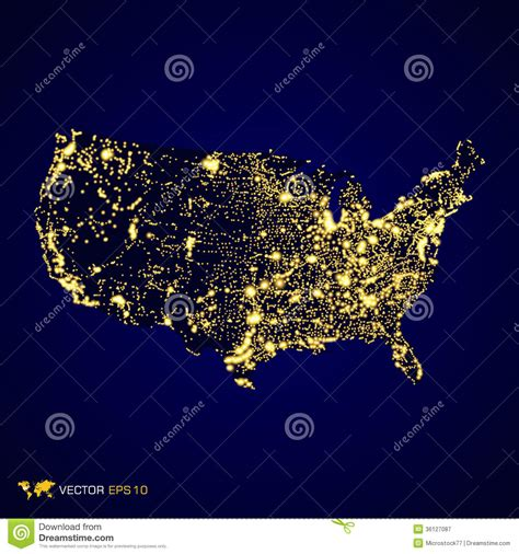 nighttime map of us usa map royalty free stock photography image 36127087