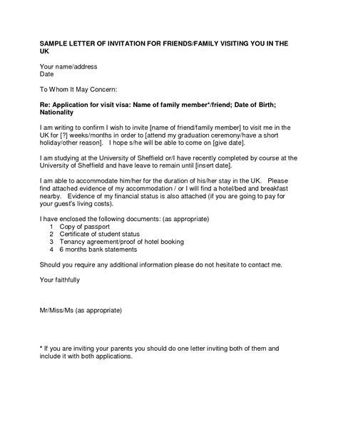 immigration invitation letter for family member sle