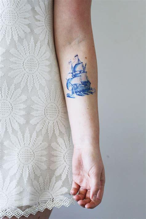 small temporary tattoos delft blue ship tattoos