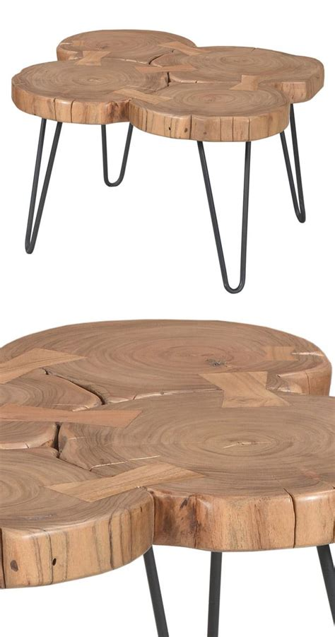 Wood Slice Coffee Table Relax Around This Rustic Table Design Beautifully Crafted From Finished Acacia Wood