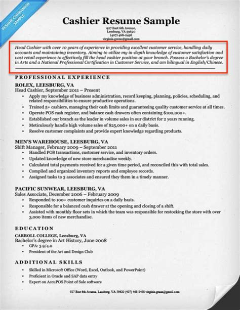 cashier sle resume profile resume profile exles writing guide resume companion