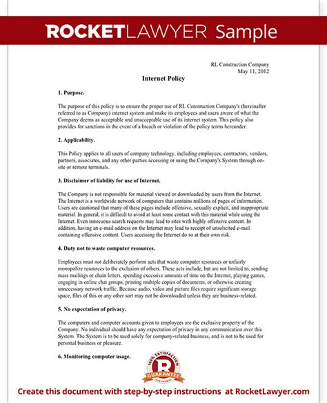 Internet Usage Policy For Employee Company Template With Sle Sanctions Policy Template
