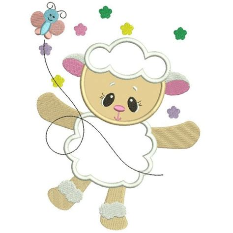 cute applique pattern cute baby lamb with butterfly easter applique machine