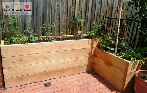 Sleeper Vegetable Garden by Cypress Sleeper Garden Bed L Shaped With Step Terrace