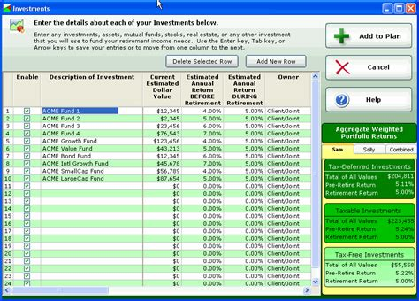 retirement planning software screenshots and sle