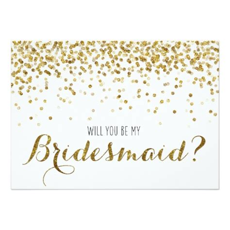 gold glitter confetti will you be my bridesmaid 5x7 paper