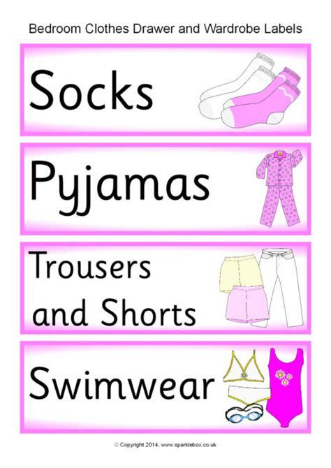 set  printable labels   childs bedroom chest  drawers  wardrobe