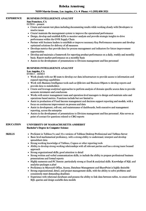 Business Intelligence Resume by Business Intelligence Analyst Resume Sles Velvet