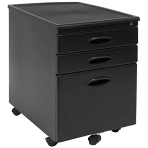 black 3 drawer locking mobile filing cabinet with casters