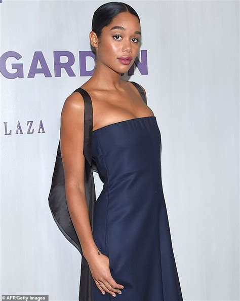 laura harrier model laura harrier brings the glamour in blue jumpsuit with