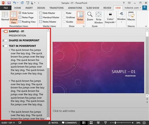 Powerpoint Outline Tab by Outline View In Powerpoint 2013 For Windows