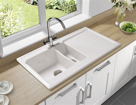 White Porcelain Kitchen Sink by Astracast Equinox 1 5 Bowl White Ceramic Inset Kitchen