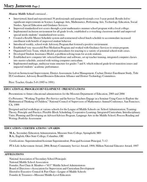 middle school resume template sle resumes for principals