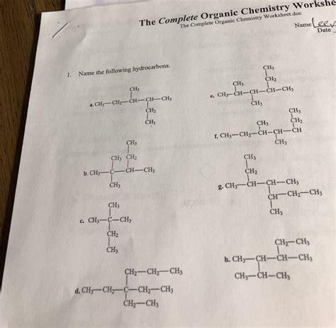 solved the complete organic chemistry workshe the complet chegg com