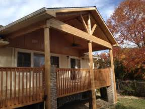 Open Gable Porch Roof Framing Open Porch With Can Lights Ceiling Fan Traditional
