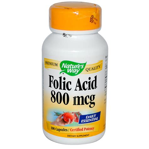 Vitamin Folic Acid nature s way folic acid 800 mcg 100 capsules iherb