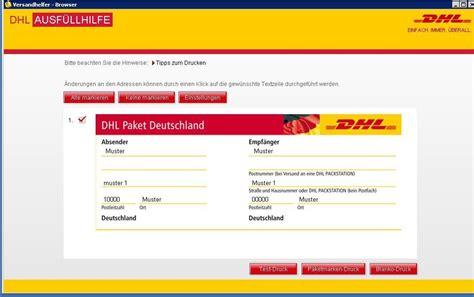 Dhl Paketschein Online Ausdrucken by Gel 214 St Komplettes Dhl Formular Ausdrucken