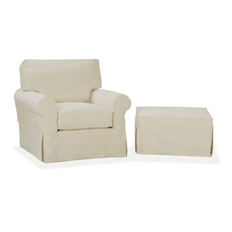 slipcover chair and ottoman nantucket slip cover suite arm chair and ottoman wayfair