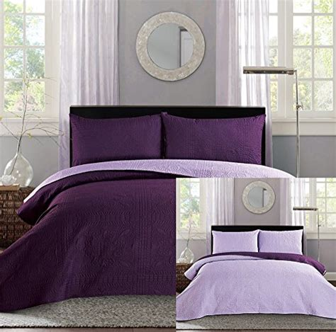 purple coverlet queen new full queen bed luxury 3 piece purple reversible