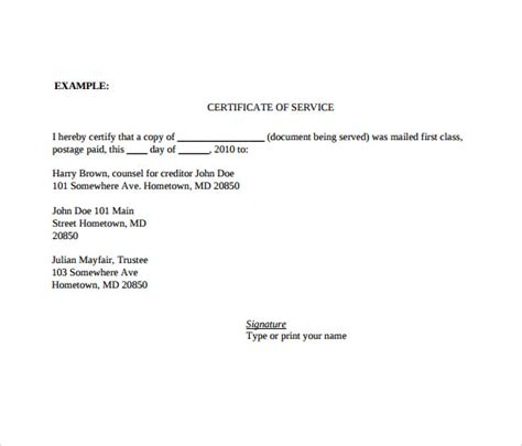 certificate of service template 10 download free