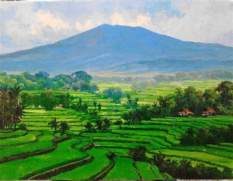 Lukisan Pemandangan Hijau lukisan pemandangan padi hijau gallery kuat casmoro