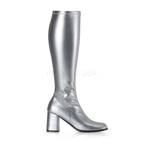 silver stretch faux leather block heel gogo boots boots