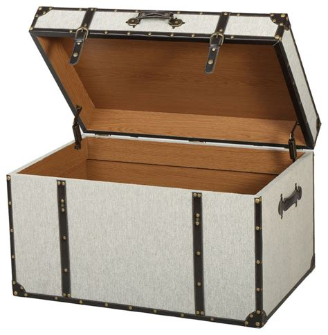 decorative trunks clarkson gray upholstered storage trunk contemporary