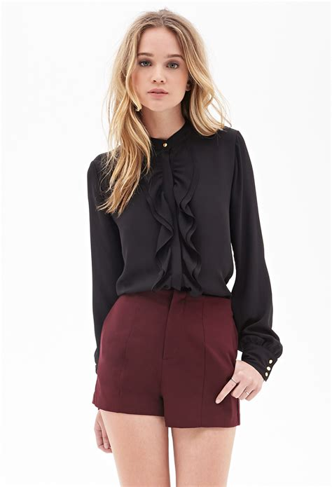 Blouse Daun forever 21 ruffled button blouse in black lyst