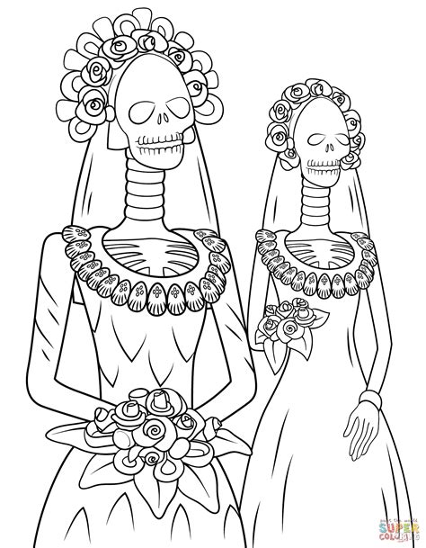 day of the dead catrina coloring pages la catrina coloring page coloring coloring pages
