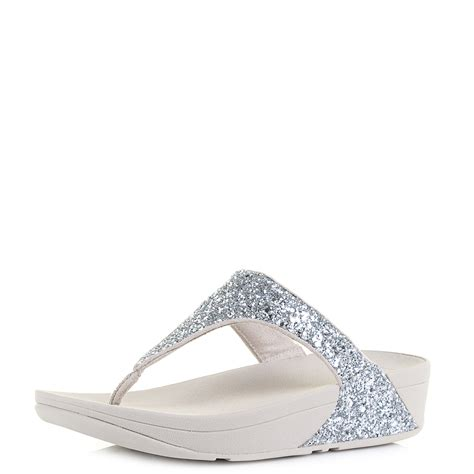 Sandal Wedges Terlaris New Fitflop Glitter womens fitflop glitterball silver low wedge flip flop sandals size ebay