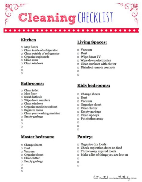 living room checklist daily cleaning list