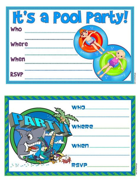 pool invitation free printable quot pool quot invites 104 days of summer