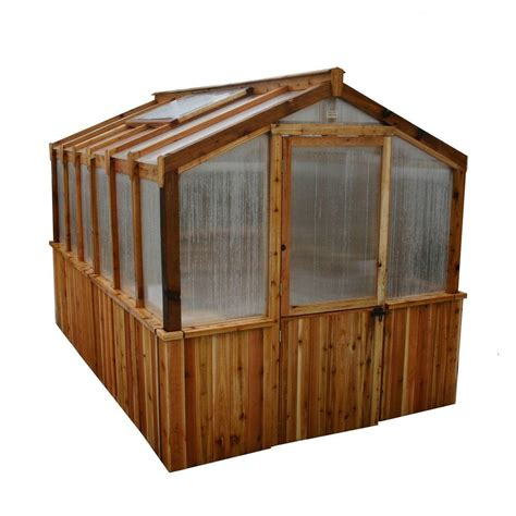 outdoor living today cedar 8 ft x 12 ft greenhouse kit