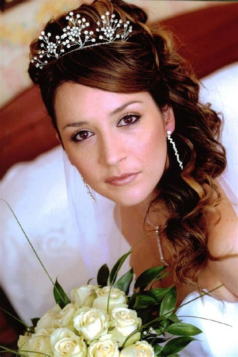 wedding hairstyles half up half down with tiara and veil half up half down bridal hair with tiara and veil first