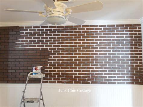 painting faux brick paneling junk chic cottage farmhouse faux brick wall