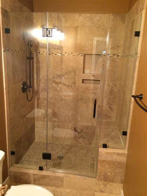 Bath To Shower Conversions Travertine Tub To Shower Conversion Bathroom Remodel In