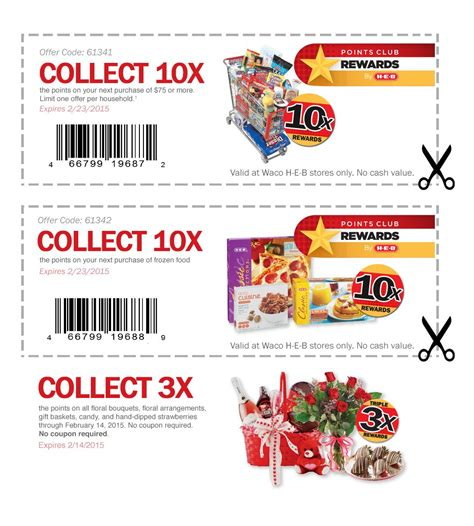free printable grocery coupons heb points club rewards ecoupons heb
