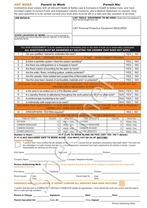 electrical permit to work template specialist print visitor solutions