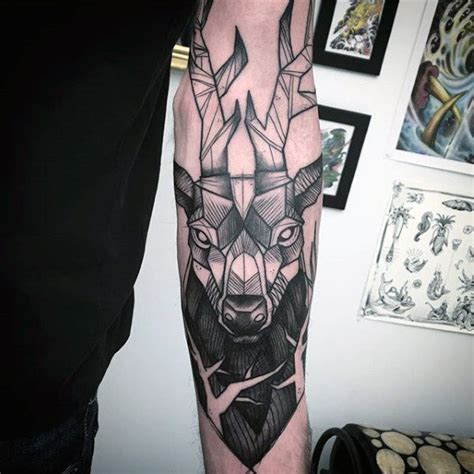 tattoo arm deer abstract male deer tattoos on outer forearm full arm
