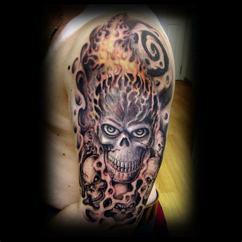 half sleeve skull tattoos grey skull and coffin on right half sleeve