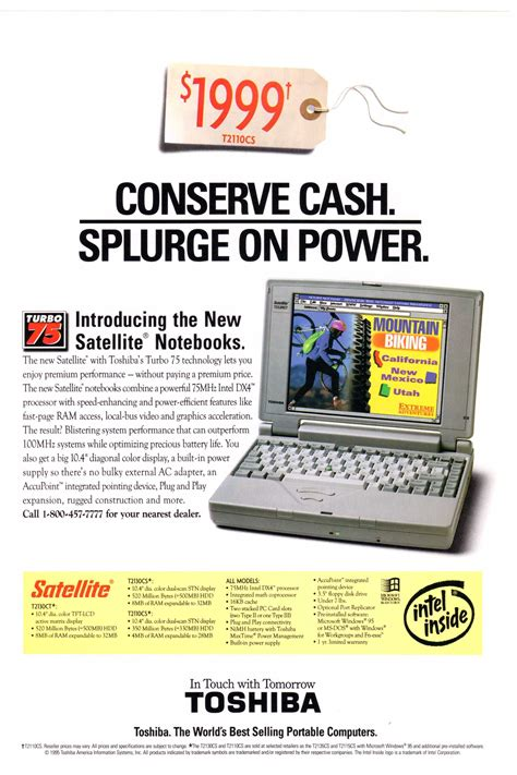 1995 toshiba satellite notebook computer ad from national geographic october 1995 vintage