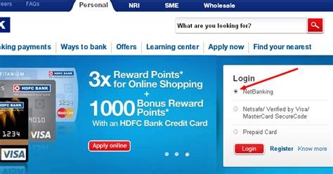 net banking with hdfc bank banking hdfc netbanking login